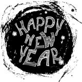 Typographic poster Happy New Year. Hand drawn Royalty Free Stock Photography