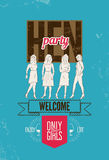 Typographic poster for hen party with pretty girls. Vector illustration. Royalty Free Stock Photos