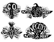 Typographic print set. Go Vegan Royalty Free Stock Photos