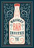 Typographic retro design Whiskey Bar poster. Vintage label with stylized whiskey bottle. Vector illustration. Royalty Free Stock Images