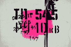 Typographic retro grunge abstract background with signs. Vector illustration. Stock Photos