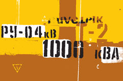 Typographic retro grunge abstract background with signs. Vector illustration. Stock Image