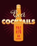 Typographic retro grunge beer cocktails poster. Vector illustration. Stock Photo
