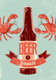 Typographic retro grunge beer poster with lobsters. Vector illustration. Stock Image