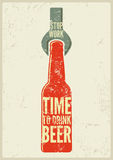 Typographic retro grunge beer poster. Vector illustration. Royalty Free Stock Photography