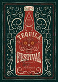 Typographic retro grunge design Tequila Festival poster.  Royalty Free Stock Images