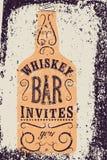 Typographic retro grunge design Whiskey Bar poster. Vintage label with stylized whiskey bottle. Vector illustration. Stock Photos