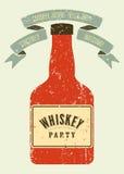 Typographic retro grunge design Whiskey Party poster. Vector illustration. Stock Photo