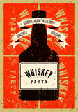 Typographic retro grunge design Whiskey Party poster. Vector illustration. Royalty Free Stock Image