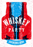 Typographic retro grunge design Whiskey Party poster. Vector illustration. Eps 10. Royalty Free Stock Images