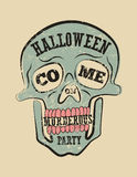 Typographic retro grunge Halloween poster with skull. Vector illustration. Stock Photography
