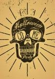 Typographic retro grunge Halloween poster with skull. Vector illustration. Typographic retro grunge Halloween poster with skull Stock Images