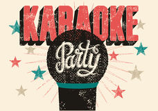 Typographic retro grunge karaoke party poster. Vector illustration. Royalty Free Stock Images