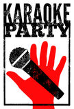 Typographic retro grunge karaoke party poster. Vector illustration. Royalty Free Stock Image