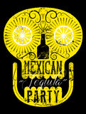 Typographic retro grunge Mexican Party poster with the skull. Vector illustration. Royalty Free Stock Photo