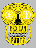 Typographic retro grunge Mexican Party poster with the skull. Vector illustration. Royalty Free Stock Images