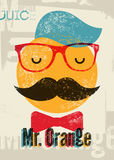 Typographic retro grunge orange juice poster. Funny hipster character Mr. Orange. Vector illustration. Eps 10. Royalty Free Stock Photo