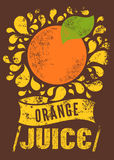 Typographic retro grunge orange juice poster. Vector illustration. Stock Image