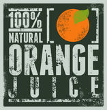Typographic retro grunge orange juice poster. Vector illustration. Stock Images