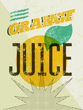 Typographic retro grunge orange juice poster. Vector illustration. Eps 10. Stock Photography
