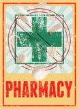 Typographic retro grunge pharmacy poster. Vector illustration. Stock Photo