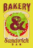 Typographic retro grunge poster for bakery and sandwich bar. Bread, cheese, sausage and salad. Vector illustration. Stock Photo
