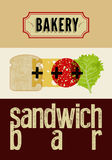 Typographic retro grunge poster for bakery and sandwich bar. Bread, cheese, sausage and salad. Vector illustration. Eps10. Royalty Free Stock Photo