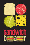 Typographic retro grunge poster for sandwich bar. Bread, cheese, sausage and salad. Vector illustration. Royalty Free Stock Photo