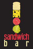 Typographic retro grunge poster for sandwich bar. Bread, cheese, sausage and salad. Vector illustration. Stock Image
