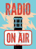 Typographic retro grunge radio station poster. Microphone On air. Vector illustration. Royalty Free Stock Photography