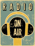Typographic retro grunge radio station poster. Microphone On air. Vector illustration. Stock Photography