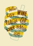 Typographic retro grunge style wine list design. Vector illustration. Stock Photography