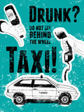 Typographic retro grunge taxi poster. Hand holds an empty beer bottle, hand holds a telephone receiver, car taxi. Vector illustrat Stock Photos