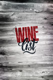 Typographic retro grunge wine list design on wood background. Vector illustration. Eps 10. Stock Images
