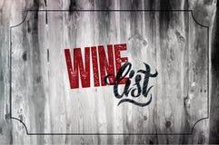 Typographic retro grunge wine list design on wood background. Vector illustration. Eps 10. Stock Photos