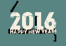 Typographic retro Happy New Year 2016 card design. Grunge vector illustration. Stock Image