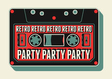 Typographic Retro Party poster design with an audio cassette. Vintage vector illustration. Royalty Free Stock Photography