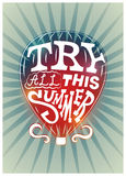 Typographic retro summer poster. Air balloon Try All This Summer. Vector illustration. Royalty Free Stock Photography