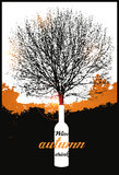 Typographic retro wine poster with tree. Vector illustration. Royalty Free Stock Images