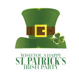 Typographic Saint Patrick's Day Retro Background with Green Hat. Royalty Free Stock Image
