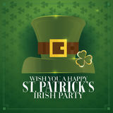 Typographic Saint Patrick's Day Retro Background with Green Hat. Royalty Free Stock Photo