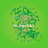 Typographic Saint Patrick's Day retro background. Vector design greetings card or poster. Typographic Saint Patrick's Day background with clover leaves. Vector Stock Photo