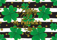 Typographic Saint Patrick's Day retro background. Vector design greetings card or poster. Typographic Saint Patrick's Day background with clover leaves. Vector Royalty Free Stock Image