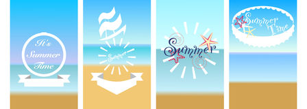 Typographic and seaside vector set Royalty Free Stock Photography