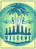 Typographic Summer Beach Party grunge retro poster design. Vector illustration. Royalty Free Stock Photos
