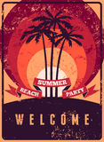Typographic Summer Beach Party grunge retro poster design. Vector illustration. Stock Photo