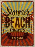 Typographic Summer Beach Party grunge retro poster design. Vector illustration. Eps 10. Stock Image