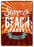 Typographic Summer Beach Party grunge retro poster design. Vector illustration. Eps 10. Stock Photos