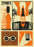 Typographic Summer Party grunge retro poster design. Vector illustration. Royalty Free Stock Photo