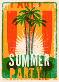 Typographic Summer Party grunge retro poster design. Vector illustration. Eps 10. Royalty Free Stock Image